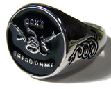 DON'T TREAD ON ME WITH GUNS & SNAKE STAINLESS STEEL BIKER RING ( sold by the piece )
