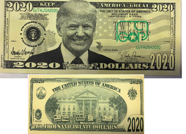 DONALD TRUMP 2020 ELECTION DOLLAR FAKE MONEY BILL (Sold by