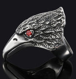 EAGLE HEAD W RED CRYSTAL EYES  STAINLESS STEEL BIKER RING ( sold by the piece )