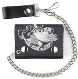 FLYING EAGLE W RIBBON TRIFOLD LEATHER WALLETS WITH CHAIN (Sold by the piece)