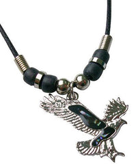 FLYING EAGLE PAUA SHELL BLACK ROPE NECKLACE ( sold by the piece or dozen )