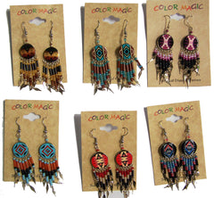ROUND SHAPED NATIVE STYLE SEED BEAD DANGLE EARRINGS ( sold by the dozen or piece )