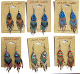 TEAR DROP SHAPED NATIVE STYLE SEED BEAD DANGLE EARRINGS ( sold by the dozen or piece )