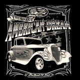 AMERICAN DREAM HOT ROD VINTAGE CAR BLACK SHORT SLEEVE TEE-SHIRT (Sold by the piece) * CLOSEOUT $ 3.50 EA