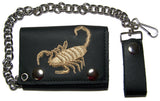 EMBROIDERED SCORPION TRIFOLD LEATHER WALLET WITH CHAIN (Sold by the piece)