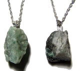 EMERALD ROUGH NATURAL MINERAL STONE 18 IN SILVER LINK CHAIN NECKLACE (sold by the piece or dozen )