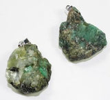 EMERALD ROUGH NATURAL MINERAL STONE PENDANT (sold by the piece or bag of 10 )