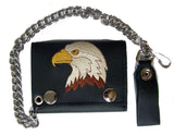 EMBROIDERED EAGLE HEAD TRIFOLD LEATHER WALLET WITH CHAIN (Sold by the piece)