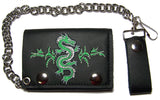 EMBROIDERED CHINESE GREEN DRAGON TRIFOLD LEATHER WALLET WITH CHAIN (Sold by the piece)