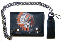 INDIAN CHIEF TRIFOLD LEATHER WALLET WITH CHAIN (Sold by the piece)