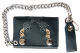 EMBROIDERED TWIN CROSSED PISTOLS GUNS TRIFOLD LEATHER WALLET WITH CHAIN (Sold by the piece)