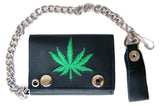 EMBROIDERED GREEN MARIJUANA LEAF TRIFOLD LEATHER WALLET WITH CHAIN (Sold by the piece)
