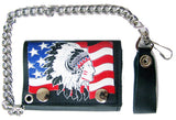 AMERICAN FLAG INDIAN CHIEF TRIFOLD LEATHER WALLET WITH CHAIN (Sold by the piece)