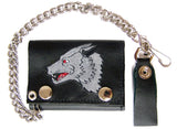 EMBROIDERED LONE WOLF TRIFOLD LEATHER WALLET WITH CHAIN (Sold by the piece)