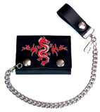EMBROIDERED CHINESE RED DRAGON TRIFOLD LEATHER WALLET WITH CHAIN (Sold by the piece)