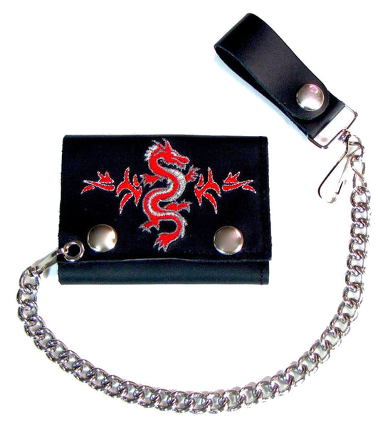 f3a43dea56 EMBROIDERED CHINESE RED DRAGON TRIFOLD LEATHER WALLET WITH CHAIN (Sold –  Novelties Company