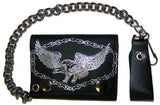 FLYING EAGLE W BIKE CHAIN TRIFOLD LEATHER WALLETS WITH CHAIN (Sold by the piece)