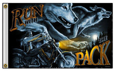 RUN WITH THE PACK WOLF MOTORCYCLE BIKER 3' x 5' DELUXE BIKER FLAG (Sold by the piece) *- CLOSEOUT NOW $ 5 EA