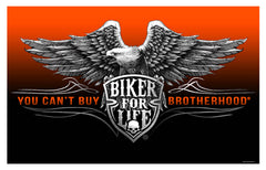 BIKER FOR LIFE ( BROTHERHOOD ) BIKER DELUXE 3' X 5' FLAG (Sold by the piece)