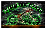 INDIAN SKELETON RIDE IT LIKE YOU STOLE IT BIKER DELUXE 3' X 5' FLAG (Sold by the piece) * CLOSEOUT NOW $ 5 EACH