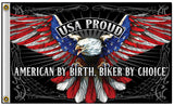 USA PROUD EAGLE AMERICAN BY BIRTH BIKER DELUXE 3 X 5  BIKER FLAG (Sold by the piece)