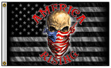 AMERICA RISING SKULL USA BANDANA BIKER DELUXE 3 X 5  BIKER FLAG (Sold by the piece)
