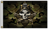 CAMO 2ND AMENDMENT SKULL PISTOL GUNS BIKER DELUXE 3 X 5  BIKER FLAG (Sold by the piece)