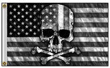AMERICAN BLACK & WHITE SKULL BONES BIKER DELUXE 3 X 5  BIKER FLAG (Sold by the piece)