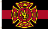 FIRE FIGHTER EMBLEM RED LINE 3 X 5 FLAG ( sold by the piece )