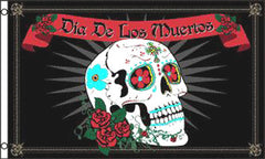 DAY OF THE DEAD SKULL ROSES   3 X 5 FLAG ( sold by the piece )