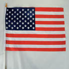 AMERICAN CLOTH 12 X 18 INCH FLAG ON A STICK (Sold by the dozen) CLOSEOUT NOW $ 1 EA