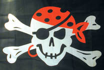 BANDANNA SKULL X BONE PIRATE 3' X 5' FLAG (Sold by the piece) * - CLOSEOUIT NOW ONLY $2.50 EA