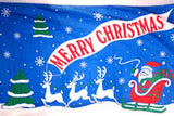 MERRY CHRISTMAS SANTA & DEER 3' X 5' FLAG (Sold by the piece)