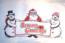 SEASONS GREETINGS SNOWMAN 3' X 5' FLAG (Sold by the piece)