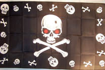 SKULLS & SKULL RED EYES 3' X 5' FLAG (Sold by the piece)