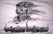NIGHT RIDER SKULL MOTORCYCLE BIKER 3' X 5' FLAG (Sold by the piece) CLOSEOUT $1.75 EA