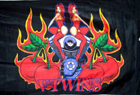 V TWINS CHICKS 3' X 5' FLAG (Sold by the piece) -* CLOSEOUT NOW ONLY 1.95 EA