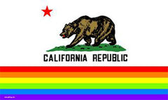 CALIFORNIA PRIDE 3 X 5 RAINBOW STATE FLAG (Sold by the piece)
