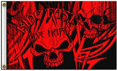RIDE FAST LIVE HARD SKULL DELUXE 3' x 5' BIKER FLAG (Sold by the piece)