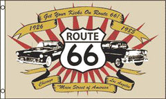CLASSIC CARS ROUTE 66 3' X 5' FLAG (Sold by the piece)