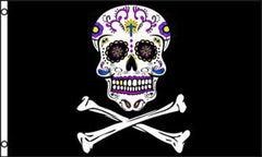 PIRATE TATTOOED CANDY SUGAR SKULL 3' x 5' FLAG (Sold by the piece)