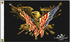 DELUXE 2ND AMENDMENT EAGLE 3 x 5 MOTORCYCLE BIKER FLAG ( sold by the piece )
