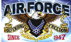 AIRFORCE DEFENDING FREEDOM DELUXE 3 X 5 FLAG ( sold by the piece )
