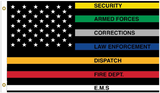 COLORED FIRST RESPONDERS AMERICAN FLAG THIN LINE 3 X 5 FLAG ( sold by the piece )