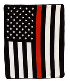 THIN RED LINE AMERICAN FLAG LARGE 50X60 IN PLUSH FIRE FIGHTER THROW BLANKET ( sold by the piece )