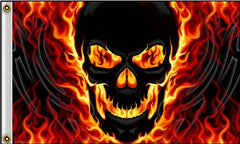 FLAMING SKULL DELUXE BIKER 3 X 5  FLAG (Sold by the piece) *- CLOSEOUT NOW $ 5 EA