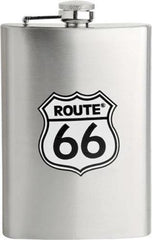 ROUTE 66 STAINLESS 8 OZ FLASK ( Sold by the piece ) -* CLOSEOUT NOW ONLY $ 5.00 EA