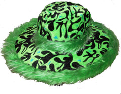 FLAMING FUZZY WIDE RIM PARTY PLUSH HAT (Sold by the piece BY COLOR )