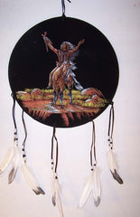 "INDIAN CHIEF ON HORSE 16"" DIAMETER WAR SHIELD / DREAMCATCHER * CLOSEOUT ONLY $2.50 EA   (Sold by the piece)"