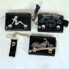 TRIFOLD LEATHER WALLETS WITH CHAIN (Sold by the piece)